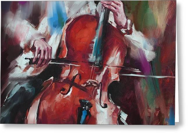 Italian Violin Player 173 4 Greeting Card by Mawra Tahreem