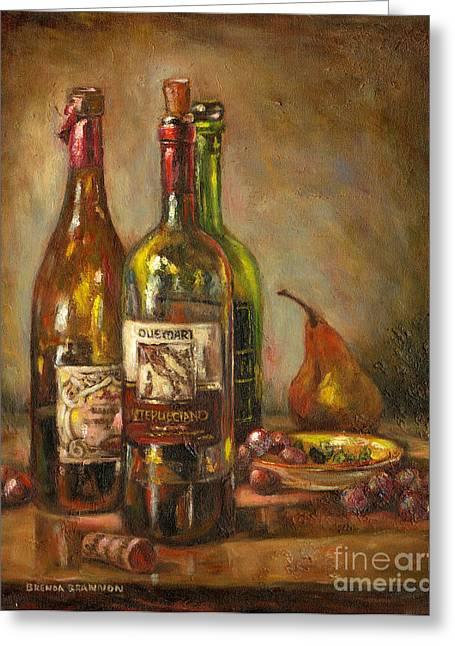 Italian Wine Greeting Cards - Italian Wine Bottles Greeting Card by Brenda Brannon