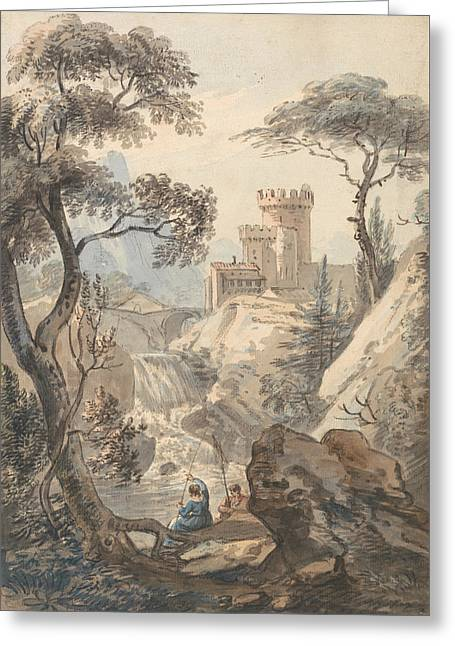 Italianate Landscape With Castle, Cascade And Anglers Greeting Card by Paul Sandby