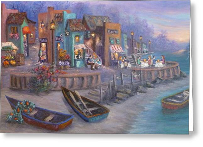 Tuscan Sunset Greeting Cards - Itally Tuscan Decor Painting Seascape Village By the Sea Greeting Card by Amber Palomares