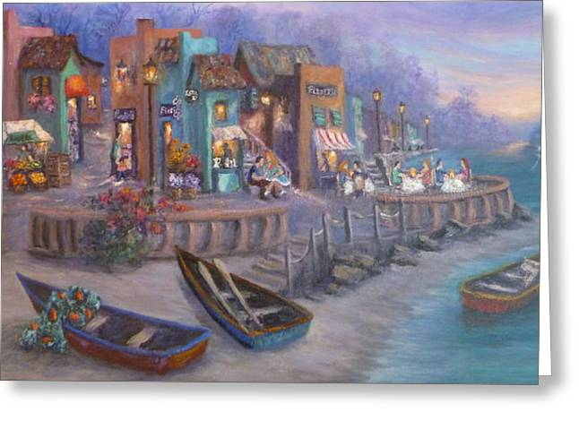 Tuscan Sunset Greeting Cards - Italy Tuscan Decor Painting Seascape Village By the Sea Greeting Card by Amber Palomares