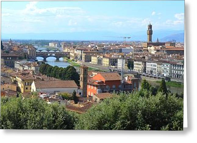 Michelangelo Greeting Cards - Italy Florence Panoramic View Greeting Card by Ana Maria Edulescu