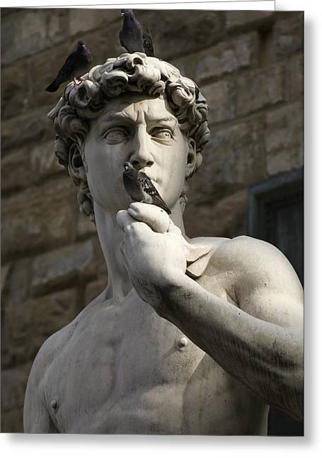 Michelangelo Photographs Greeting Cards - Italy, Florence, Statue Greeting Card by Keenpress