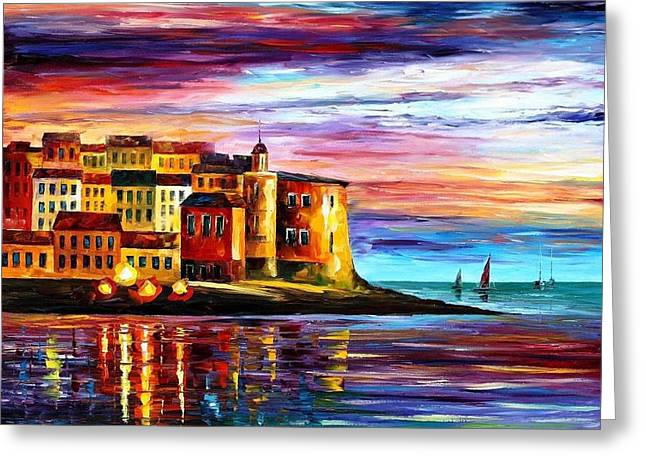 Popular Art Greeting Cards - Italy-Liguria - PALETTE KNIFE Oil Painting On Canvas By Leonid Afremov Greeting Card by Leonid Afremov