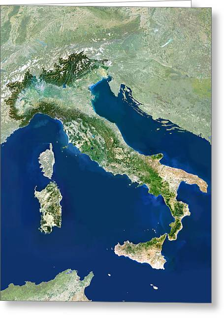 Recently Sold -  - Science Greeting Cards - Italy, Satellite Image Greeting Card by Planetobserver