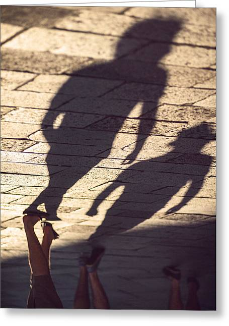 Long Street Greeting Cards - Italy Venice Shadows of people walking down street Greeting Card by Eduardo Huelin