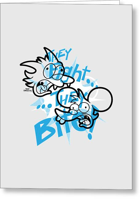 Toy Store Mixed Media Greeting Cards - Itchy and Scratchy Fight and Bite Greeting Card by Twentieth Century Fox