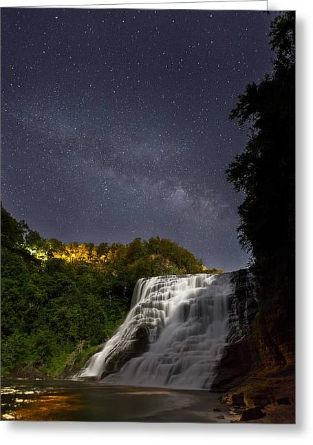 Steffey Greeting Cards - Ithaca Falls By Moonlight Greeting Card by Michele Steffey