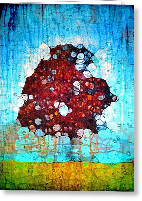Raining Down Greeting Cards - Its a Hard Life for a Tree Greeting Card by Tara Turner