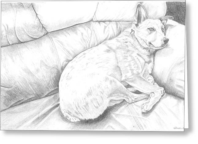 Lazy Red Dog Greeting Cards - Its a hard life Greeting Card by Russell Britton