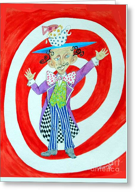 It's A Mad, Mad, Mad, Mad Tea Party -- Humorous Mad Hatter Portrait Greeting Card by Jayne Somogy