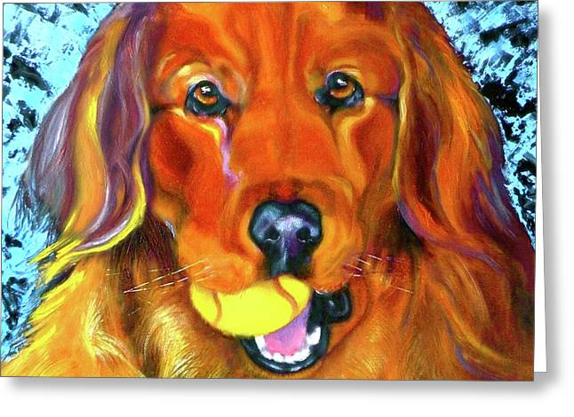 Golden Retriever Cards Greeting Cards - Its About the Ball Greeting Card by Susan A Becker