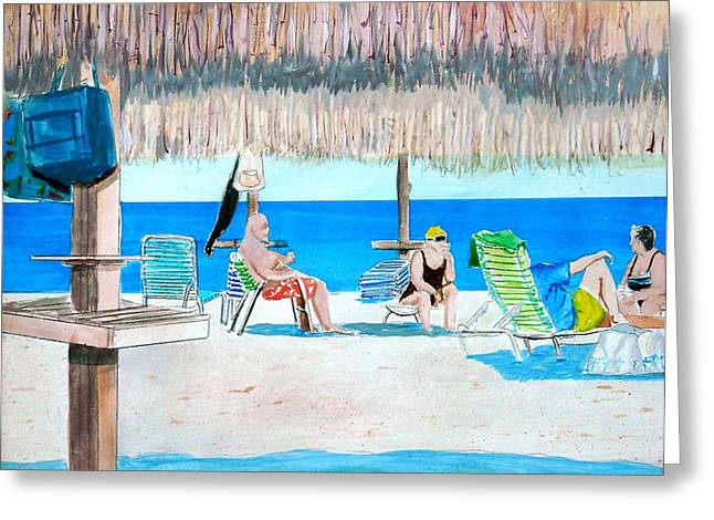 Rowers Paintings Greeting Cards - Its Always Sunny in Aruba Greeting Card by Anthony Ross