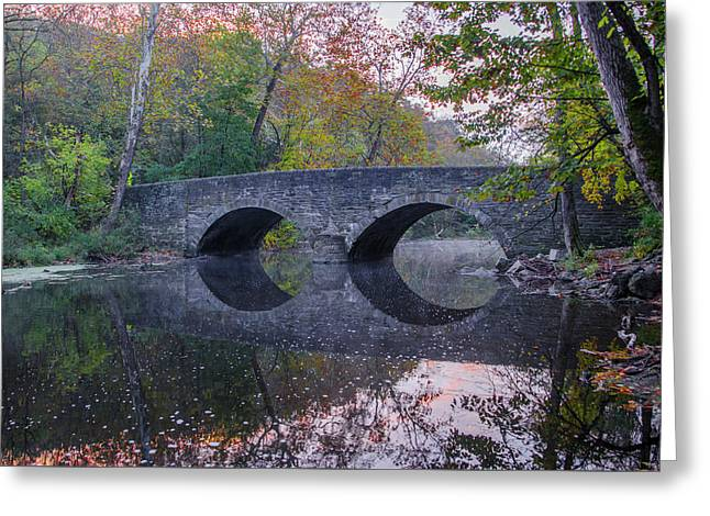 It's Autumn At The Bells Mill Road Bridge Greeting Card by Bill Cannon