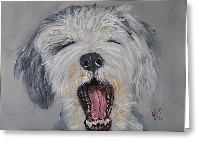 Puppies Paintings Greeting Cards - Its Been a Hard Day Greeting Card by Julie Hollis