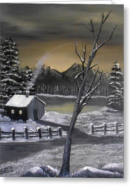 White Paintings Greeting Cards - Its Cold Outside Greeting Card by Sheri Keith