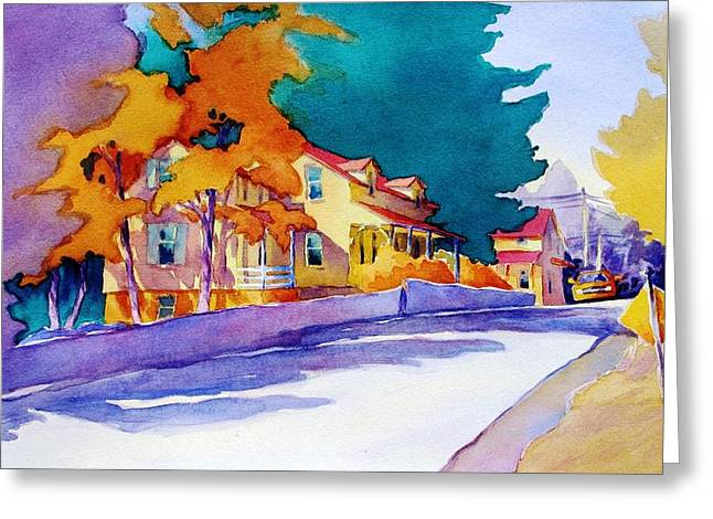 Road Travel Paintings Greeting Cards - Its Downhill From Here Greeting Card by Virgil Carter
