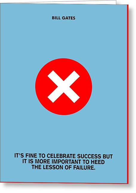 It's Fine To Celebrate Success Bill Gates Famous Quotes Poster Greeting Card by Lab No 4 The Quotography Department