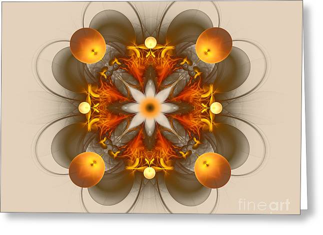 Fractal Orbs Greeting Cards - Its Golden Greeting Card by Jane Spaulding