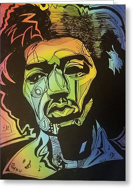 70s Music Greeting Cards - Its in your head Jimi Hendrix Greeting Card by James Egaku