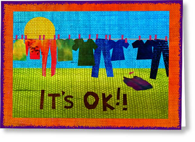Bright Tapestries - Textiles Greeting Cards - Ok Transparent Greeting Card by Wendy Rickwalt