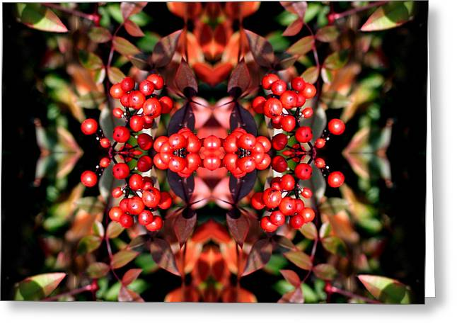 Green Burgandy Greeting Cards - Its The berries Abstract Greeting Card by Linda Phelps