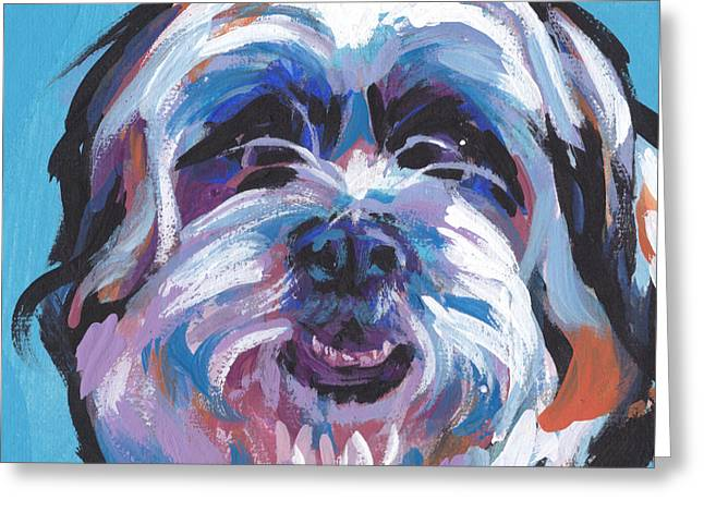 Dog Lover Art Greeting Cards - Itz A ShihtzA Greeting Card by Lea