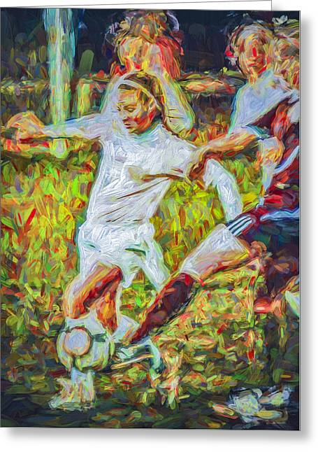 White River Greeting Cards - IUPUI University Jaguars Soccer Athlete KDemo Painted Greeting Card by David Haskett