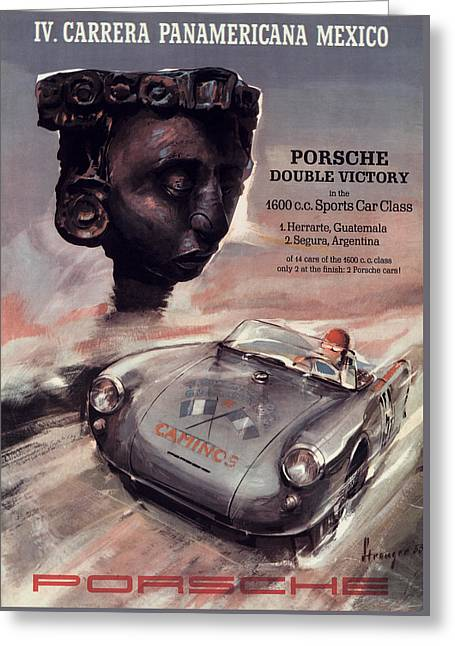 Speed Trials Greeting Cards - IV Carrera Panamericana Porsche Poster Greeting Card by Nomad Art And  Design