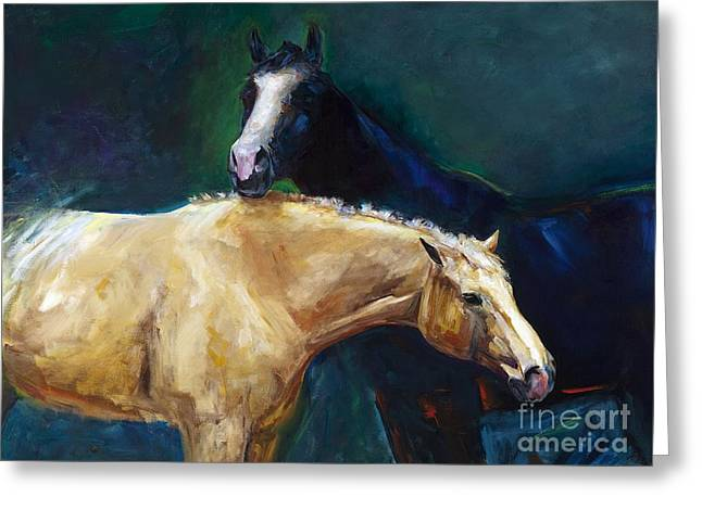 Abstract Equine Greeting Cards - Ive Got Your Back Greeting Card by Frances Marino