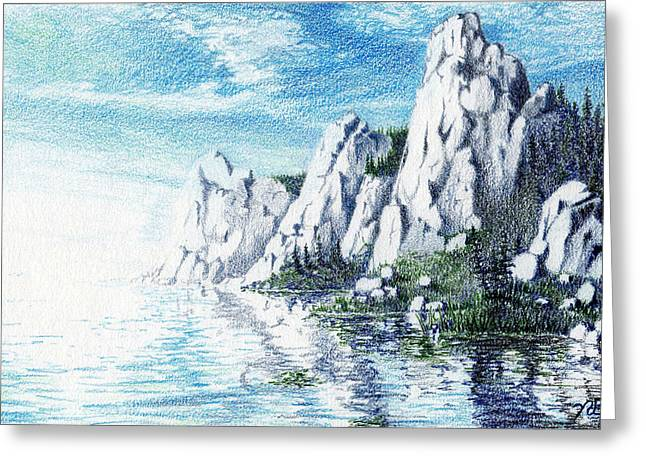 Prisma Colored Pencil Drawings Greeting Cards - Ivory Cliffs Greeting Card by Nils Beasley