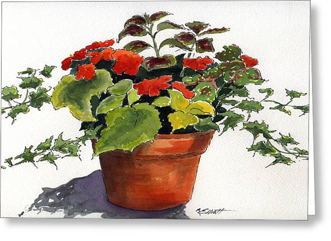 Flowerpots Greeting Cards - Ivy League Greeting Card by Marsha Elliott
