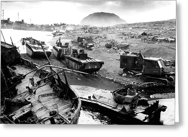 Mount Greeting Cards - Iwo Jima Beach Greeting Card by War Is Hell Store