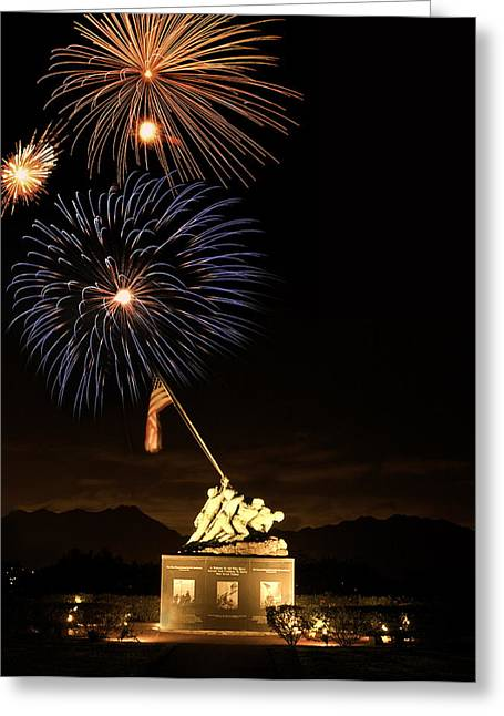 Recently Sold -  - Pyrotechnics Greeting Cards - Iwo Jima Flag Raising Greeting Card by Michael Peychich