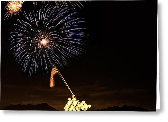Iwo Jima Flag Raising Greeting Card by Michael Peychich