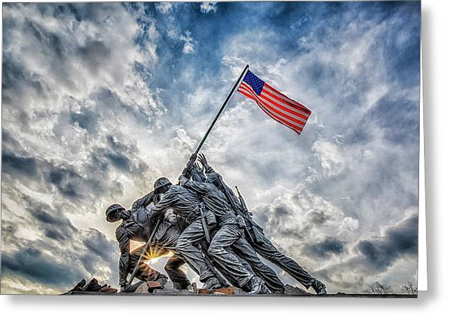 Iwo Jima Memorial Greeting Card by Susan Candelario