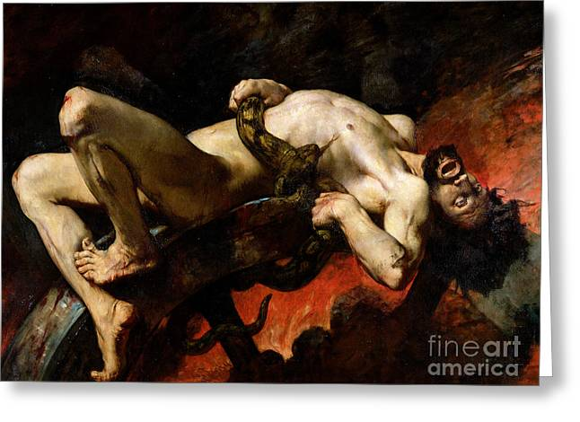 Damnation Greeting Cards - Ixion Thrown into Hades Greeting Card by Jules Elie Delaunay