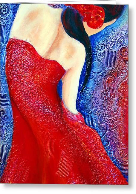 Dancers Mixed Media Greeting Cards - Iza Greeting Card by Claudia Fuenzalida Johns