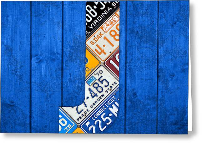 Letter J Greeting Cards - J License Plate Letter Art Blue Background Greeting Card by Design Turnpike