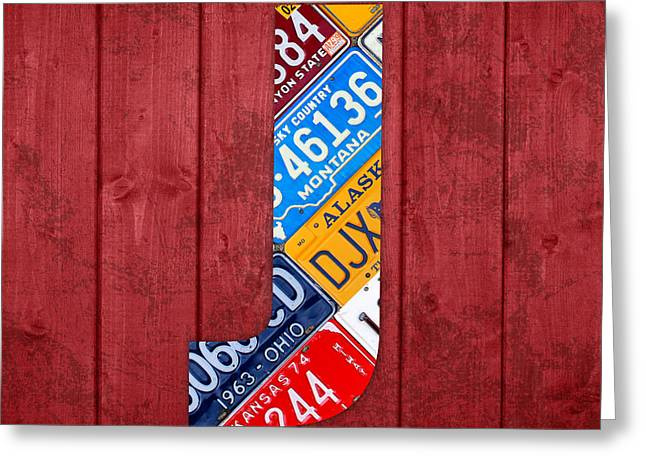 Letter J Greeting Cards - J License Plate Letter Art Red Background Greeting Card by Design Turnpike