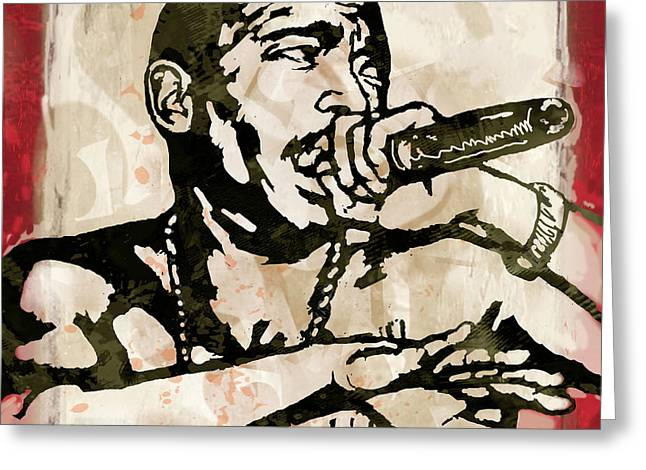 Single Mixed Media Greeting Cards - Ja Rule Pop Stylised Art Sketch Poster Greeting Card by Kim Wang