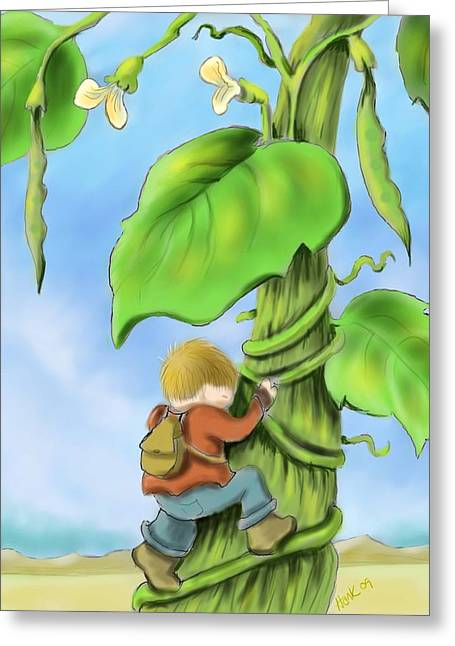 The Bean Greeting Cards - Jack and the Beanstalk Greeting Card by Hank Nunes