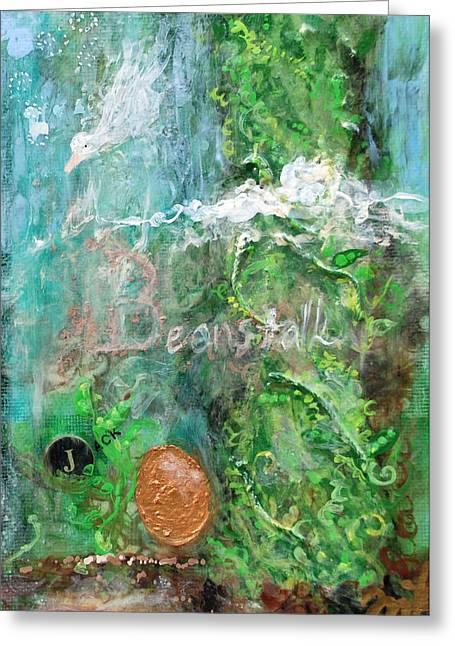 Nursery Rhyme Mixed Media Greeting Cards - Jack and the Beanstalk Greeting Card by Jennifer Kelly
