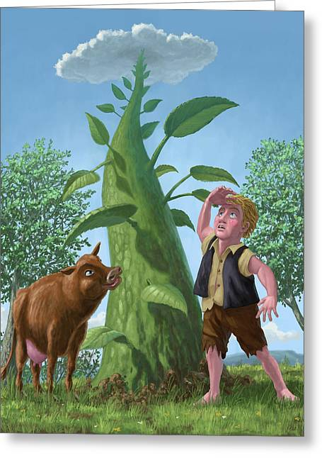Fabled Digital Greeting Cards - Jack And The Beanstalk Greeting Card by Martin Davey