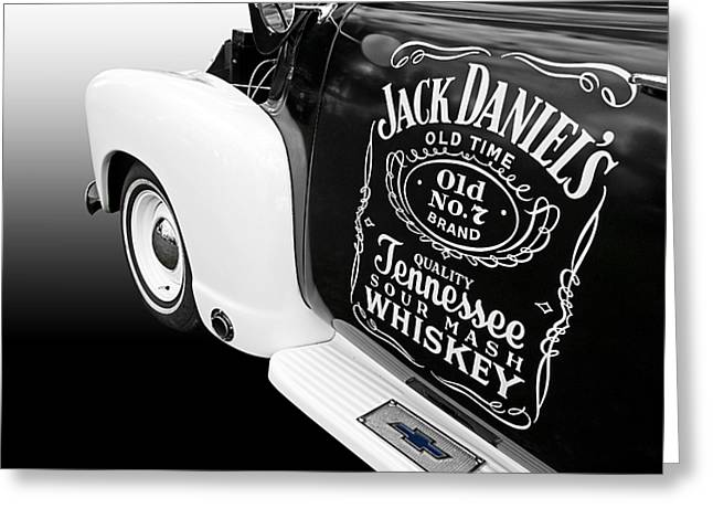Black 7 White Greeting Cards - Jack Daniels Chevy Greeting Card by Gill Billington