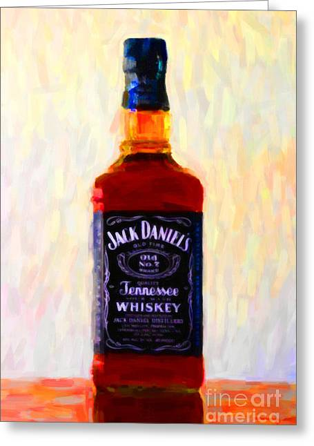Jack Daniel's Tennessee Whiskey 80 Proof - Version 1 - Painterly Greeting Card by Wingsdomain Art and Photography