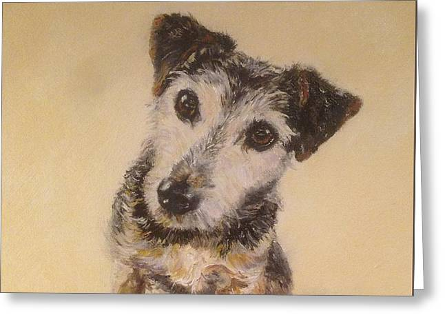 Puppies Paintings Greeting Cards - Jack Greeting Card by Genny Goodman