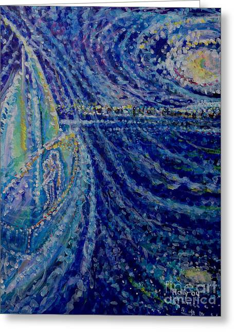 Recently Sold -  - Blue Sailboats Greeting Cards - Jack n Me Greeting Card by Holly Carmichael