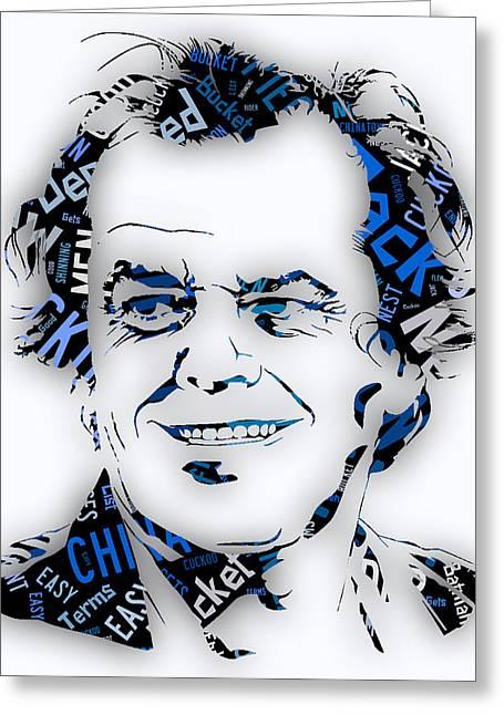 Jack Nicholson Movie Titles Greeting Card by Marvin Blaine