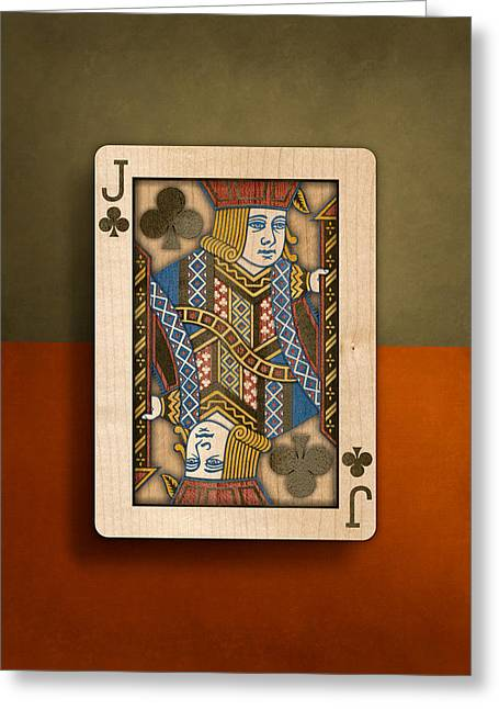 Jack Of Clubs In Wood Greeting Card by YoPedro